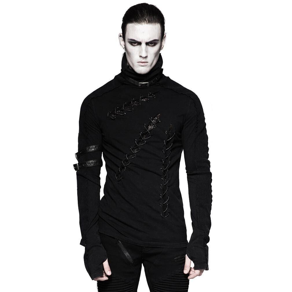 Punk Rave Gothic Grunge Langarm Top T-Shirt - Relict Schnürung Schnallen