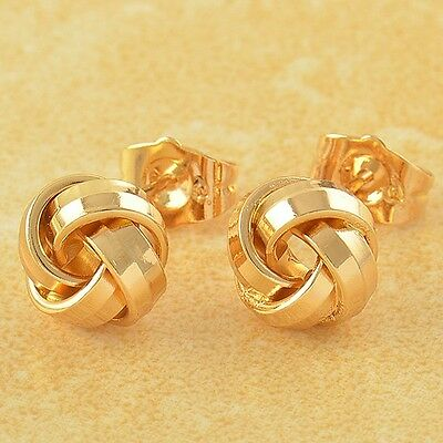 Fashion Womens Girls 18K Gold Filled Love-Knot small Ball Stud Earrings lot