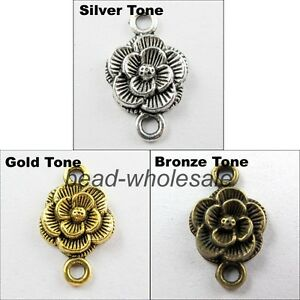 Wholesale-Lots-30-pcs-Tibetan-Silver-Rose-Flower-Charms-Connector-Findings-20mm
