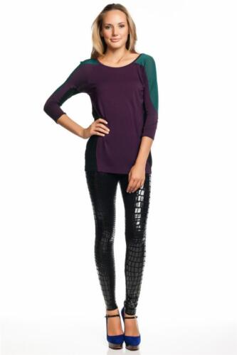 AIKO Women/'s Sunny Top in Sanguine Viscose Purple Long sleeves Color Block