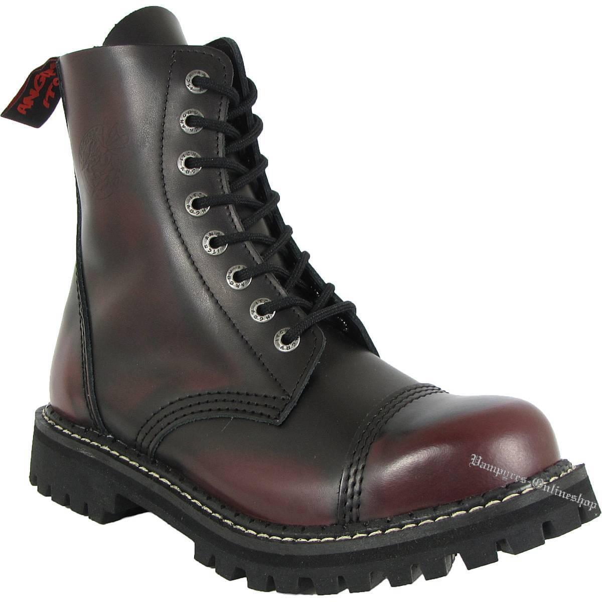 073e36b4f3f Angry Itch 8 agujeros Burgundy Rub-off rojo negro rangers botas acero tapas  red