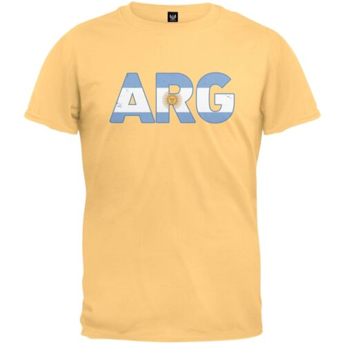 ARG Argentina Distressed Yellow Adult Mens T-Shirt FIFA