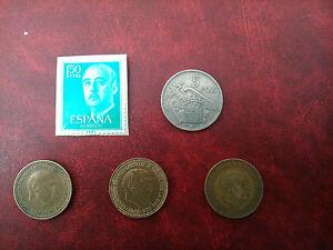 Lote sello de españa franco 1,50 pesetas, 3 monedas 1 peseta distintas y 5 pts.