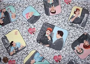 """1/2 Yard """"I Love Lucy"""" 100% Cotton Fabric by Quilting Treasures - OOP - RARE!!!"""