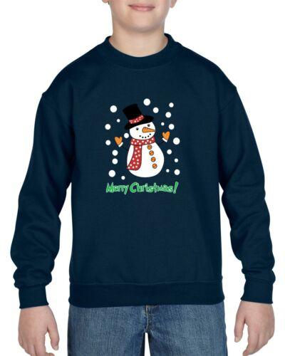 Snowman Merry Christmas Jumper Knitted Santa Reinder Pub Knit Kids SweatShirt