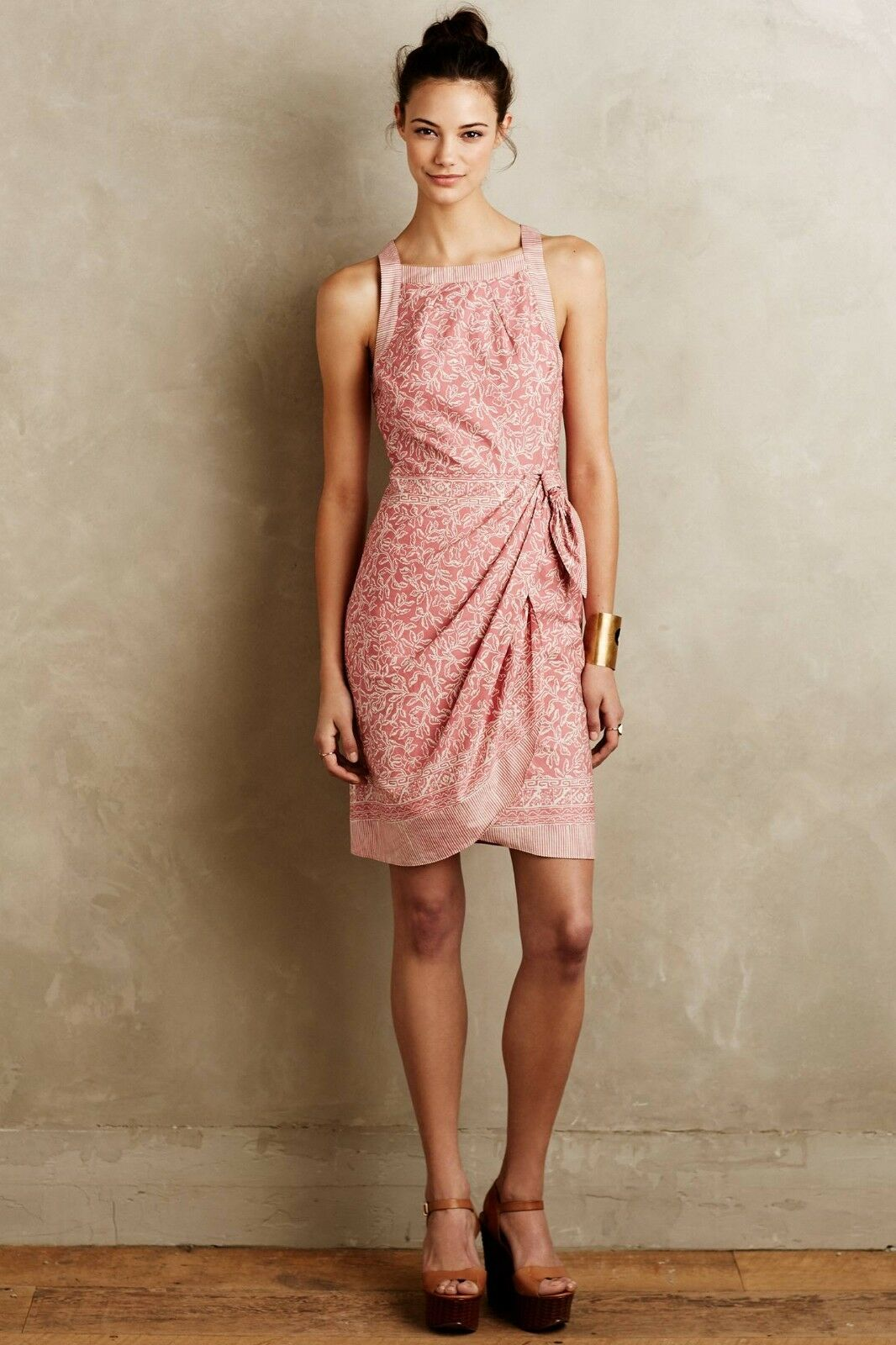 NWT NWOT Anthropologie Margate Dress  by HD in Paris Red motif Size M, XL
