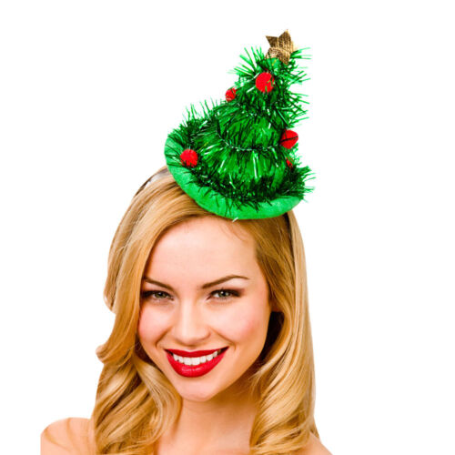 Femmes Vert Guirlandes Mini Sapin de Noël Chapeau Serre-Tête Déguisement