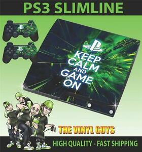 Playstation-PS3-SLIM-Pegatina-keep-calm-and-game-con-Piel-amp-2-PAD-Skins