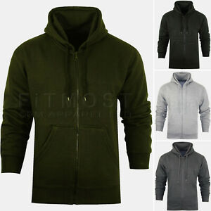 Mens-Zipper-Hoodie-Hooded-Sweatshirt-Fleece-Top-Plain-Hoody-Jumper-S-5XL