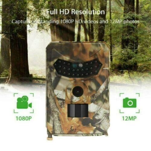 Wildkamera Jagdkamera 12MP 1080P Wasserdicht Fotofalle IR Nachtsicht Tarnung