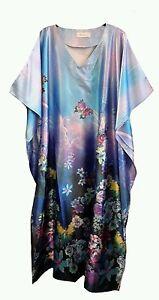 donna-con-farfalle-PROFILO-Stampa-Satin-LUNGO-Kaftan-Costume-UK-10-32
