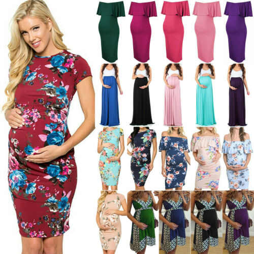 Womens Pregnant Maternity Bodycon Floral Short Sleeve Evening Party Midi Dresses