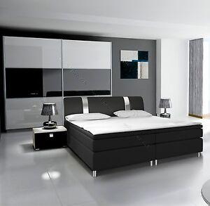 Details zu Komplett Schlafzimmer RivaBOX in Hochglanz mit BOXSPRINGBETT  weiß / schwarz