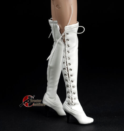 "1//6 White Over knee Long Boots High-heeled Shoe W Feet For 12/"" PH Verycool Body"