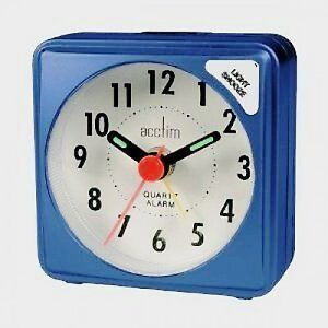 acctim ingot mini alarm clock blue travel pocket size battery operated. Black Bedroom Furniture Sets. Home Design Ideas