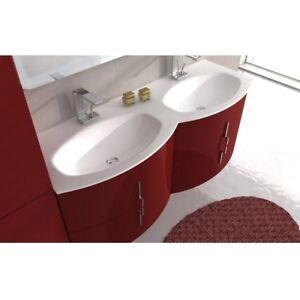 Dettagli su Mobile arredo bagno modero 138 sospeso curvo 4 colori doppio  lavabo cristallo|ko