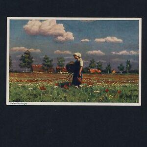 Künstler Reutlingen bäuerin im blumenfeld künstler ak um 19102 paul wilhelm keller