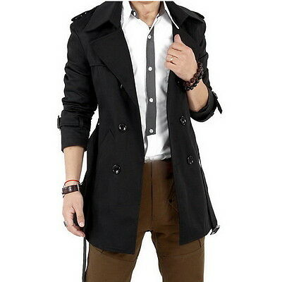 Men's Winter Slim Double Breasted Trench Coat Long Jacket Overcoat Outwear