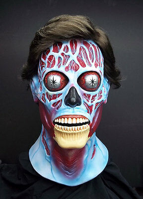 ADULT ALIEN MASK & WIG MENS DELUXE THEY LIVE FILM SCARY LATEX FANCY DRESS NEW