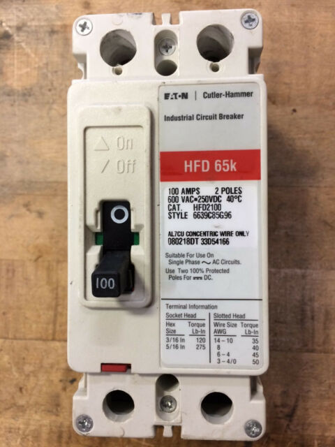 Eaton HFD2100 HFD 65k 600VAC 250VDC Industrial Circuit Breaker 100 Amp