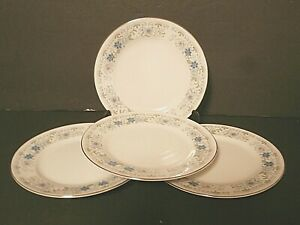 Everbrite-Fine-China-Angelita-Bread-amp-Butter-Plates-Blue-Flowers-Lot-of-4