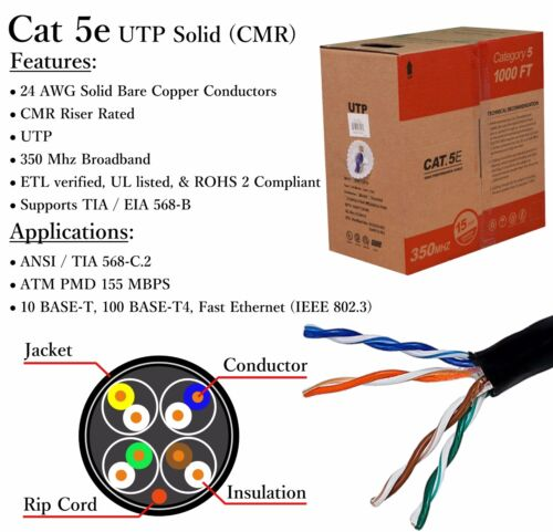 1000 Ft Roll Cat5e  Solid Conductor UTP 24 AWG Copper CMR Ethernet Network Cable