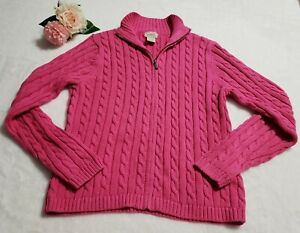LL-Bean-Womens-XS-Pink-Cotton-Full-Zip-Mock-Neck-Cable-Knit-Cardigan-Sweater
