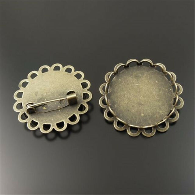 15 pcs Antiqued Bronze Alloy Round Lace Cameo Settings 25x25mm Pins Broochs