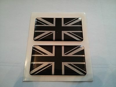 2 x UNION JACK BLACK SILVER GB CAR BADGE MINI COUNTRYMAN SELF ADHESIVE 50x30mm