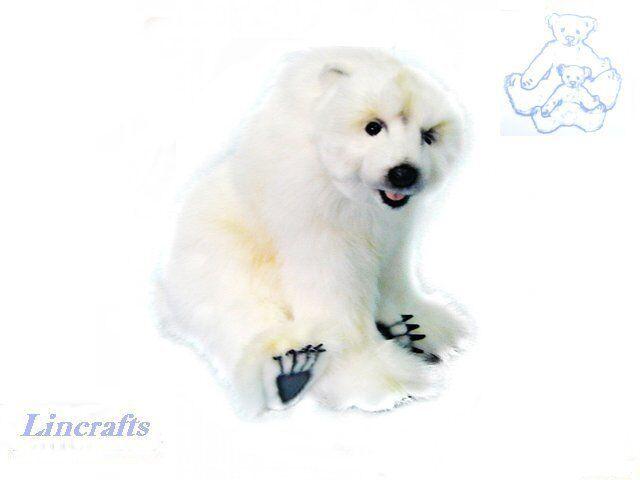 Sitting Polar Bear Plush Soft Toy by Hansa from Lincrafts. 3935