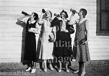 Vintage Stylish Ladies Drinking Booze Photo 1925 Flappers Jazz Prohibition era