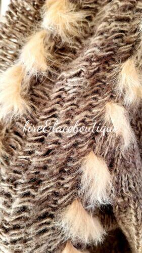 Bke 14 en avec L 12 laine et laine en Cardigan fourrure lapin Sz MpqUzVGLS