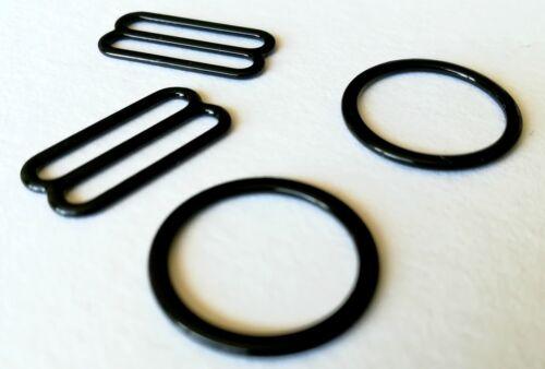 Sujetador haciendo Black Metal recubierto Sujetador deslizadores y anillos tamaño 19mm