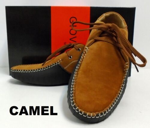 Men/'s GIOVANNI faux suede oxfords casual lace up shoes black red camel M788-1