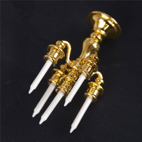 1//12 Scale Miniature Gold Candelabra 5 White Candles Dollhouse Kitchen toy  JF