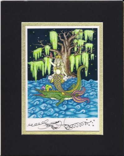 SIGNED AND MATTED NEW ORLEANS ARTIST Jamie Hayes BAYOU MARDI GRAS MERMAID