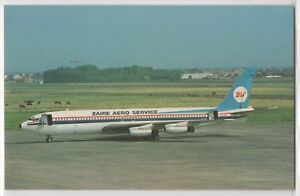 Zaire-Aero-Service-Boeing-707-458-On-Tarmac-Cows-Airplane-Aviation-Postcard