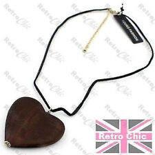 BIG WOODEN HEART boho pendant NECKLACE black faux suede neck cord chain WOOD