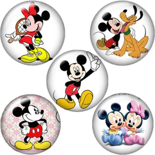MINNIE MAUS PLUTO x 5 Stück Click Snap Button Wechsel Druckknopf Chunk MICKY