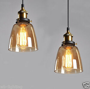 Amber-Vintage-Industrial-Bell-Glass-Shade-Pendant-Lamp-Hanging-Pendant-Light-LED
