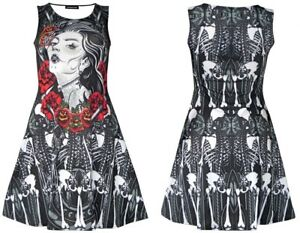 Unique-Sugar-Skull-Mexican-Skeleton-Guns-Bones-And-Roses-Print-Alternative-Dress