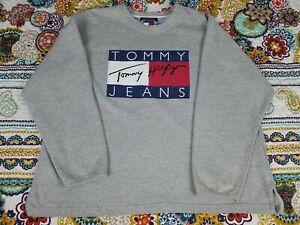 Details zu Tommy Hilfiger Vintage 90s Big Logo Crewneck Sweatshirt Sz 2XL xxl Heather Grey