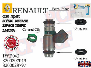 fuel injector repair kit o ring set renault clio sport 172 182 megane scenic ebay. Black Bedroom Furniture Sets. Home Design Ideas
