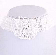 Womens Ladies Seed Bead Flower White Crystal Beaded Choker
