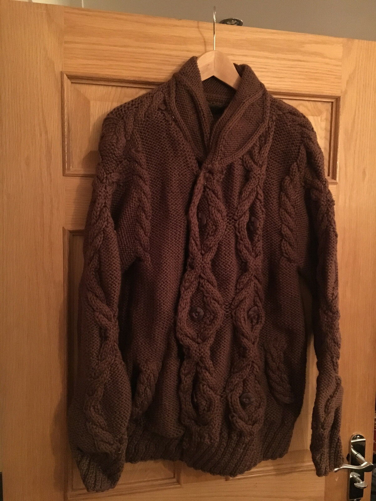 MAHARISHI MENS BROWN DOUBLE BREAST CABLE KNIT CARDIGAN