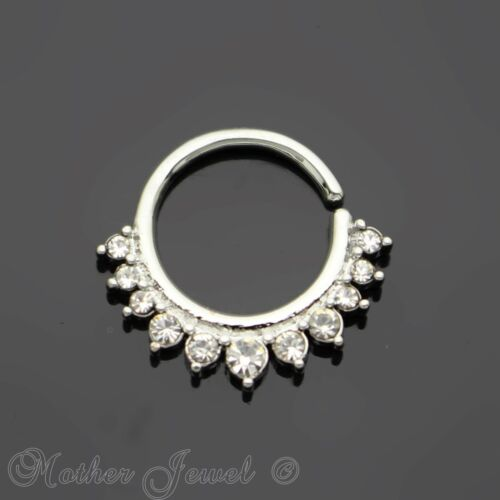 SIMULATED DIAMOND PAVED SILVER SURGICAL STEEL NOSE SEPTUM CARTILAGE HOOP RING