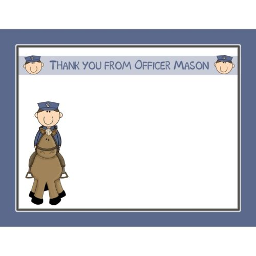 20 Personalized Thank You Cards -  Police Party - Mounted Police Design