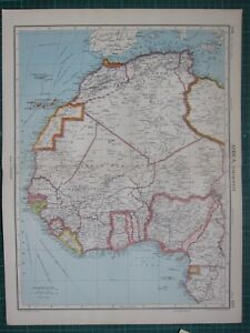 1952 LARGE MAP AFRICA NORTH WEST SUDAN CANARY ISLANDS LIBERIA
