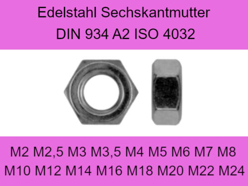 5, M8 Schwarze Sechskantmutter DIN 934 Edelstahl A2 M3 M4 M5 M6 M8 M10