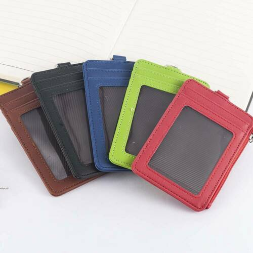 ID Badge Card Holder PU Leather Zipper Clip Neck Strap Lanyard Necklace Case Bag